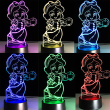 HOT Kawaii Cartoon 3D LED USB Lamp Seven Dwarfs Actress Princess Snow White Apple Girl Birthday Gift 7 Colors Change Toys Decor