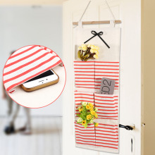 6/8 Pocket Stripe Door Hanging Bag Cotton Hanging Organizer Wall Pockets On Window Stationery Cosmetics Storage Organizador