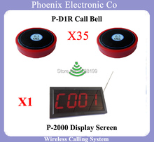 315mhz Wireless Call Bell System Wireless Waiter Call System Waiter Calling System With 35pcs Bells And 1pcs Display Receiver(China)