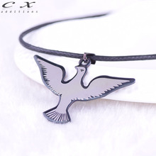 2017 New Stainless Steel Eagle Hawk Pendant Sign Accessories Gun Black Best Gift For Boyfriend Trend Black Rock Chain Necklace