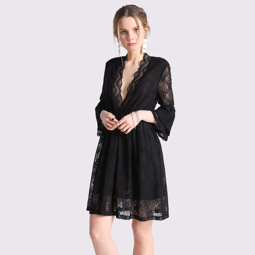 Spring Women's Sexy Deep V-Neck Black Lace Dress Elegant Lady Flare Sleeve Midi Tunic Dress Female Party Dress Plus Size Talever