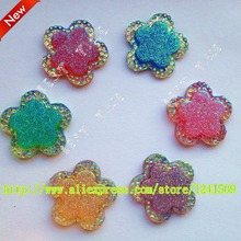 New Product Promotion 20MM Flower Shapes Multicolor Mix Beautiful Resin Rhinestone Headdress Sewing Clothing DIY Accessory MH1