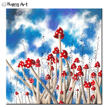 Skilled Artist Hand Painted Blue Sky Landscape Oil Painting on Canvas Modern Red Mushroom Oil Picture For Living Room Wall Art