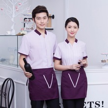 Hotel waiter service Summer 5 Stars Hotel Catering work wear short sleeved men women clothing collocation hotel staff Uniform(China)