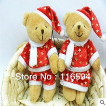 Promotion gift! small Christmas Teddy Bear plush stuffed toys, tree decoration/boutique doll/wedding gifts/phone pendant