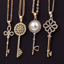 Hot Sale Fashion Crystal Key Pendant Necklace Long Sweater Chain collar collier colar Charm Jewelry for Women Wholesale