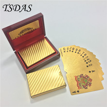 Wedding Gift 24k Gold Poker Card With Wooden Box And Certificate, Normal Gold Playing Card Leisure Game Poker Card(China)