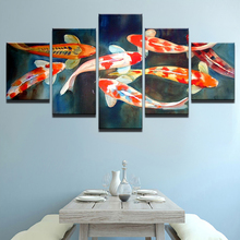 Canvas Painting Living Room Wall Poster 5 Panels Colorful Fish Unframed In Modular Print Cuadros Decoration Pictures Kids Room(China)