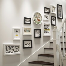 13pcs Nordic Simple Life Stairs Photo Picture Glasses Wood Frame Sets For Wall Pictures, Home Decorative Art Print Painting