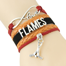 Chain Bracelet Infinite Love FLAMES Red Orange Black Cord Golf Dropshipping