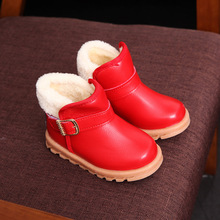 Princess Girls Boots Children Shoes New Winter Plush Warm Bow Fashion boys Snow Boots Kids Soft Bow Cute Girls Shoes Size 21-30(China)
