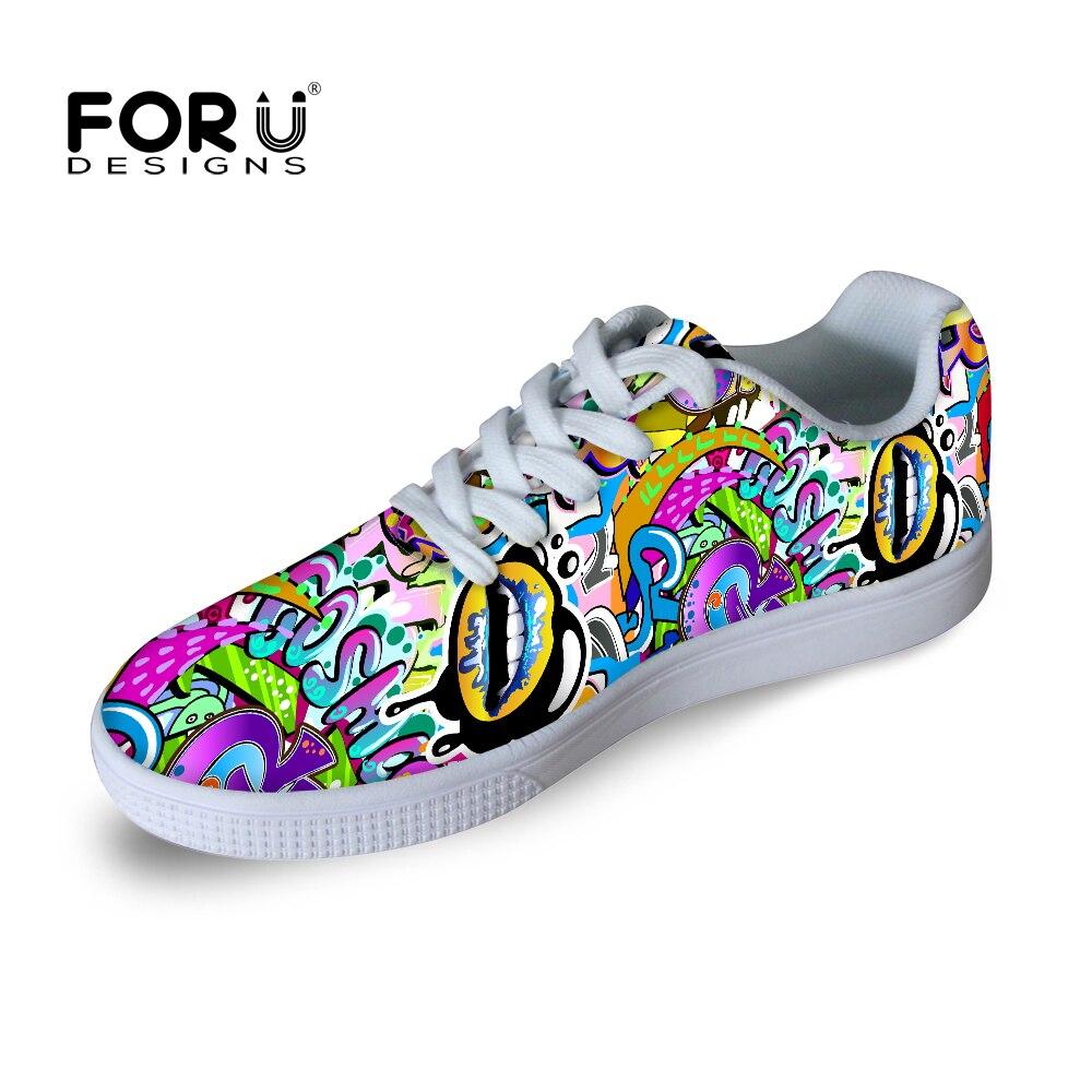 Fashion Graffiti Printing Flat Casual Shoes for Men Boys Sapatos Skate Shoes Ladies Lace-up Walking Shoes Zapatillas Sapatos<br><br>Aliexpress