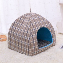 Hot Pet Dog Bed House for Cat Bed Mat Sleeping Nest Mat Striped Print Kennels Canvas Cover Small Dog Cage Puppy(China)