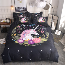 WAZIR 3D Watercolor unicorn bedding Cartoon Bedroom Bedding Set duvet cover set 6 Size US AU Double bedclothes bed linen bed set(China)
