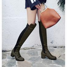 Plus Size 34-43 2017 New Women Stretch Faux Suede Over The Knee Boots Flat Thigh High Boots Sexy Fashion Shoes Woman Heels Shoes