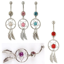 Belly button ring Body piercing Jewelry Dangle Dream Catcher Crystal Gem 14G Surgical Steel Nickel free mix colors Free shipping