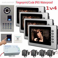 "1v4 Fingerprint Keypad Intercoms for Private Houses Metal 7"" Color Monitors IP65 Waterproof Doorbell with Camera Doorphones Kit"
