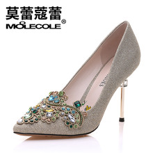 Free shipping ! size 35-39 / heel 9.8 cm / MOOLECOLE women's pumps with Crystal / Bling party shoes / color silver , golden(China)