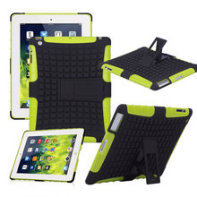 For Apple ipad 2 3 4 Heavy Duty Case Silicone Slip Shockproof Stand Case Green free Screen film Stylus Cloth