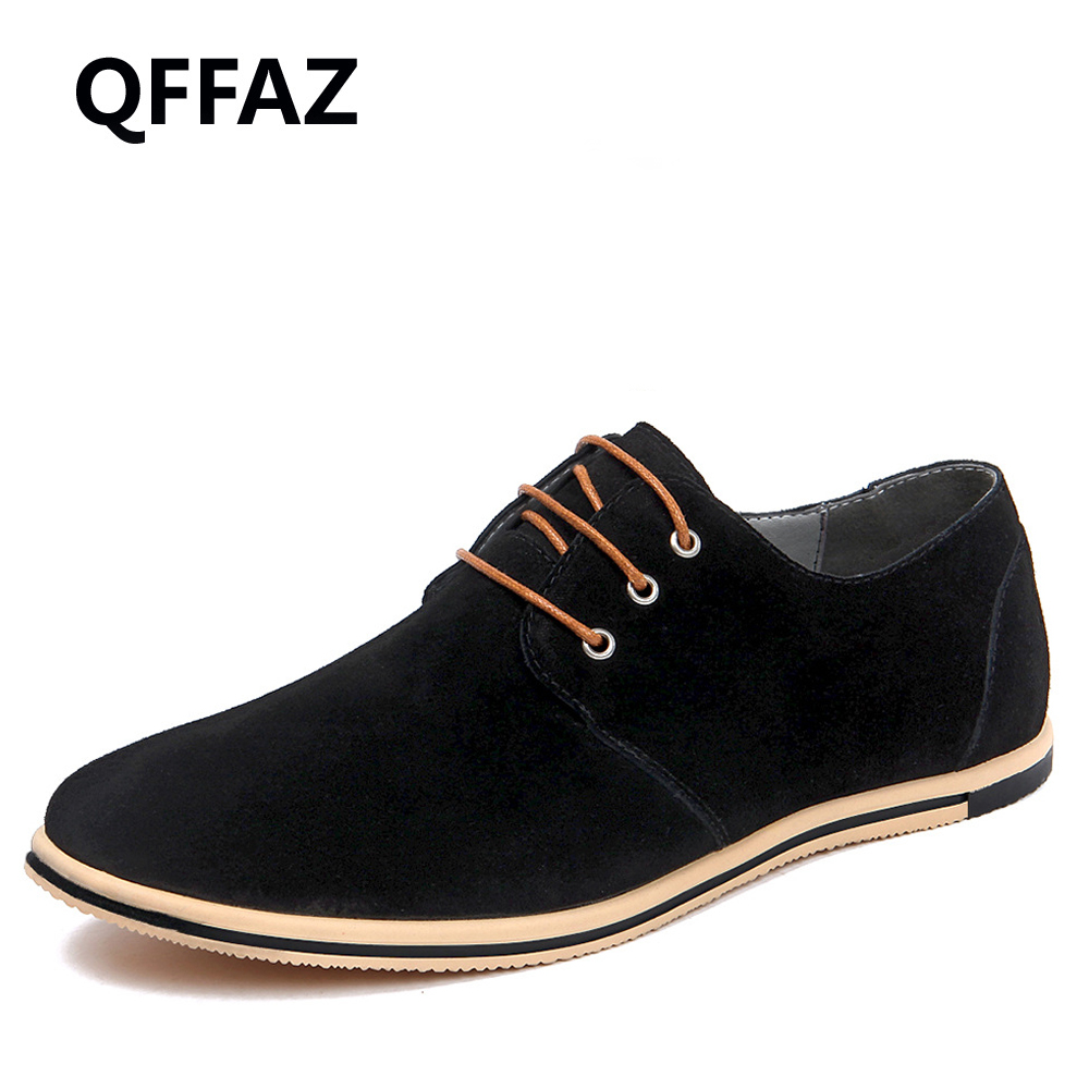 QFFAZ New 2018 Spring Men Faux Suede Leather Oxford Shoes Lace Up Comfortable Vibrant Orange Men Shoes Big Size 38-50<br>