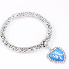 1Pcs/lot University of Kentucky Bracelet Crystal Heart Pendant Charms Endless Banlge For NCAA Football Baseball Fans Gifts