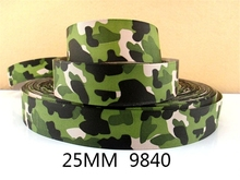 1''(25mm) camo Camouflage Grosgrain ribbon printed ribbon Bow Material gift packing,clothing accessories,50Yc206(China)