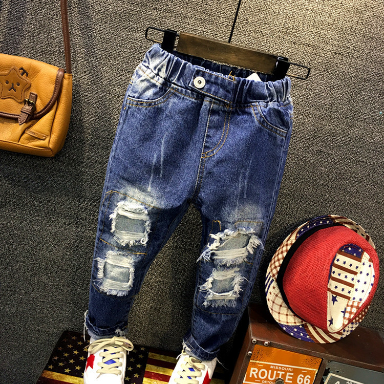 Fashion Denim Pants Boys Ripped Jeans 2-10 Yrs Baby Boys Jeans Kids Clothes Cotton Casual Childrens Jeans Kids Trousers<br>