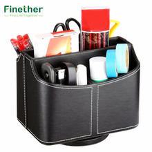 Finether Storage Boxes 5 Compartments PU Leather Desk Storage Container Organizer for Desktop Mobile Phone Remote Control(China)