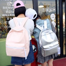 2017 New Arrival Backpack Girl School Bag Women Pink And White Simple metal silver laser holographic backpack