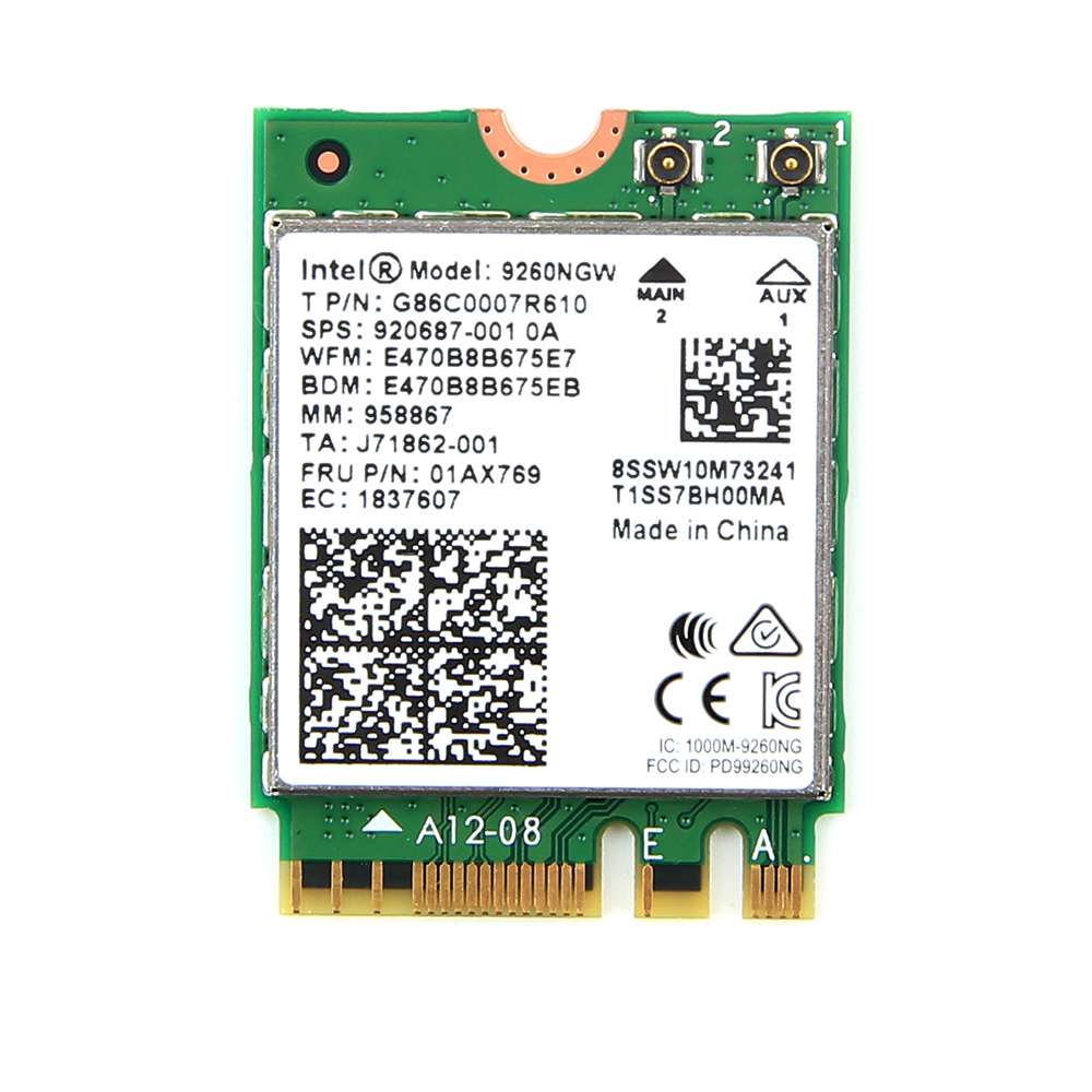 Intel 8260 8260NGW 867Mbps  BT4.0 NGFF Card with Dual Band 4dbi MHf4 antennas