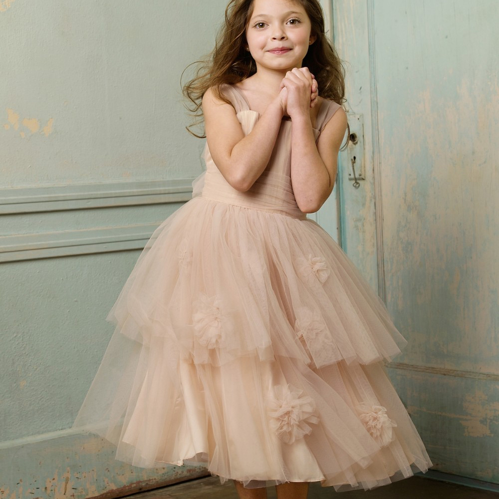 Elegant Dresses for Girls Peach Tiered Ruffles Rosette Flower Girl Chiffon Open Back Christmas Ball Gowns with Bow Sash for 12<br><br>Aliexpress