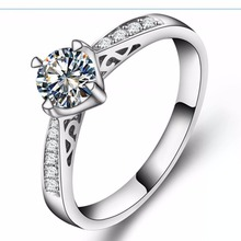 Hollow Style Ring Jewelry 1Ct Round Moissanite Diamond Engagement Ring 18K White Gold Ring in Jewelry Elegant Ring for Her 750