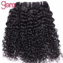 [Gem Beauty Supply] Indian Curly Hair Weave Bundles 100% Human Hair Extension 1Pc/Lot Natural Black Non Remy Hair Free Ship