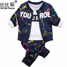 Bibihou Fashion Kids Clothes Boys Autumn Clothing Set Graffiti coat + Print T-shirt + Pants Baby Boy Clothes Children sport suit