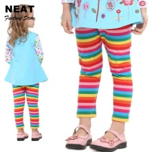 Retail Neat Kid Print Girls Pants Baby Lace Trousers Children Clothing Legging Top Cartoon Striped Leggings F5508 H5802 Mix(China)