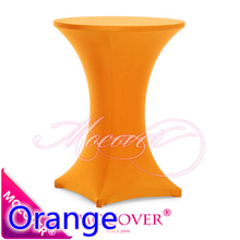 Orange colour colour table cover cocktail table cloth lycra high bar table linen wedding party hotel table decoration on sale