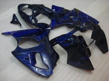 Plastic Fairings for Kawasaki ZX6r 2002 Body Kits 636 ZX-6r 2000 2000 - 2002 Black Blue Flame Fairing Kits for Kawasaki ZX6r 00