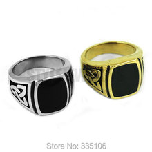 Free Shipping! Silver Gold Claddagh Style Celtic Knot Ring Stainless Steel Jewelry Egyptian Pattern Motor Biker Men Ring R0354(China)