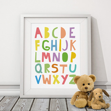 Alphabets Typography Poster Nursery Print Art  Poster, Wall Picture Canvas Art Prints Kids Nursery Art, Baby Room Decor No Frame