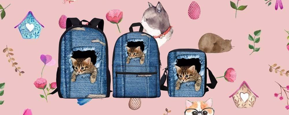 denim cat backpack