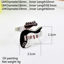 JETTING Bright Colorful Glazed Guitar Ring Personalized European Punk Style 1 Pc White And Black Rings(China)
