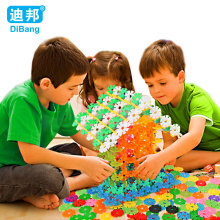 300Pcs Snow Snowflake Building Blocks Toy Baby Children Montessori Educational Toy DIY Assembling Bricks Gift Kids Classic Toys(China)