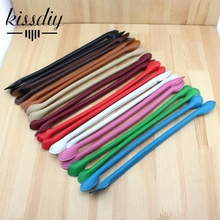 Multicolor long pattern 36CM simple ear style PU leather handle bag belt DIY Lady Handbag accessories 10pair/ lot wholesale(China)