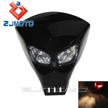 Universal Custom Fiber Glass FRP Street Fighter Motorcycle Head Light 12V Street Racing Skeleton Skull Head Light