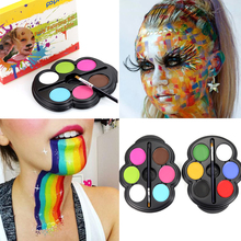 Popfeel Brand Rainbow Body Paint Color Neon UV Glowing Face Painting Palette Temporary Tattoo Schmink Pigment Halloween Makeup(China)