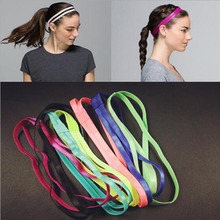 hot sale Double Sports Elastic Headband Softball Fitness night Yoga Anti-slip Silicone Rubber Hair Bands women wearing