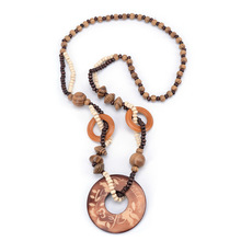 Hand Carved Exotic Indiana Printing Hollow Round Woody Beaded Pendant Necklace Fashion Jewelry for Women Birthday Gift Present(China)