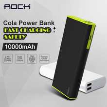 ROCK Cola 18650 10000mAh Power Bank Phone Battery Charger Powerbank for iPhone Samsung Fast Charging For Android and IOS(China)