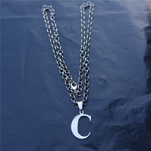 Fashion Men Letter Link Chain Stainless Steel Alphabet C Pendant Necklace Jewelry