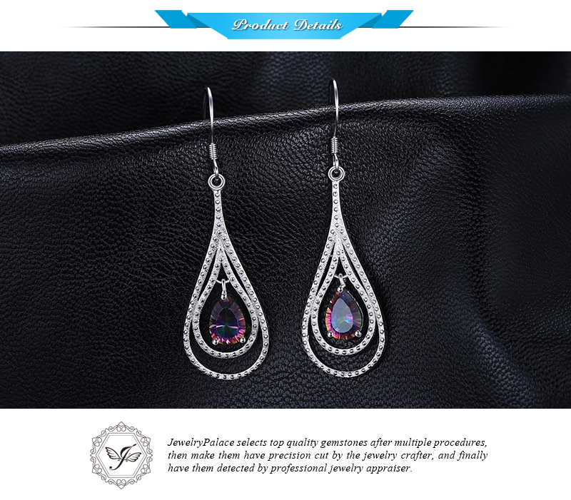 2.4ct Brand New Vintage Fashion Women Natural Fire Rainbow Mystic Topaz  Drop Earrings Solid 925 Sterling Silver Wholesale - us650 dd4cefeba2